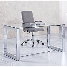Mesa de estudio oficina Office , cristal transparente y cromado, medidas 140 cm x 70 x 75 de altura