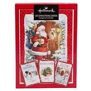 Hallmark - Biglietti di Natale, motivo tradizionale, 24 pezzi, 4 motivi assortiti [lingua inglese]
