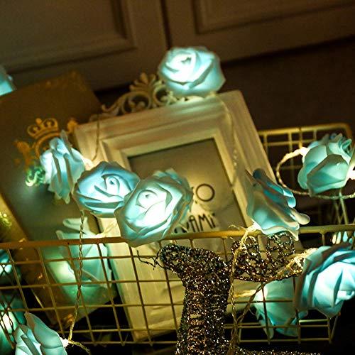 Leezo 10 LED Batterie Betrieben Warm White Rose Blume 1,5 mt Fee String Licht für Valentinstag Dekoration Hochzeit Schlafzimmer Garten Weihnachtsdekor (Blau, Rot, Weiß) (Billig Valentinstag Dekorationen)