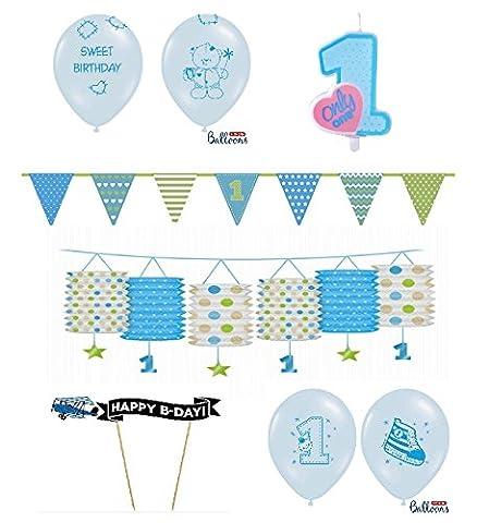 FesteFeiern Kinder-Geburtstagsdeko erster (1.) Geburtstag | 8 Teile für Jungen im Deko Set verschiedene Blautöne | happy birthday kleiner