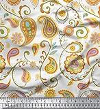 Soimoi Weiß Baumwoll-Popeline Stoff Mandala & Paisley Drucken Nahen Stoff 1 Meter 42 Zoll breit