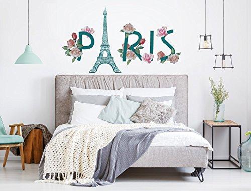 I-love-Wandtattoo WAS-12433 Wandtattoo Fashion ''Paris Schriftzug mit Eiffelturm und Rosen'' Design Motiv zum Kleben modern Wohnzimmer Fashion Design Blumen Mode Metropole Accessoires Schmuck Schlafzimmer Flur Eingangsbereich Designer
