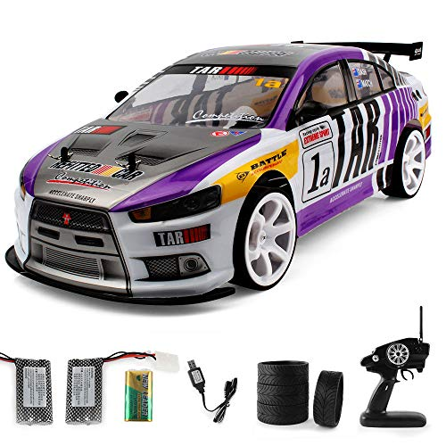 Offroad Rock 2,4 GHz 1:10 Doppelbatterie High Power LED Scheinwerfer Racing Truck, Graffiti High Speed Racing Monster Modell, 70 Km/h, 20 Minuten verwenden (Lila) ()