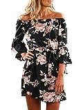 YOINS Damen Sommerkleider Lange Ärmel Schulterfrei Eelegant Sexy Blumenmuster Kurzes Strandkleid schwarz XL/EU46