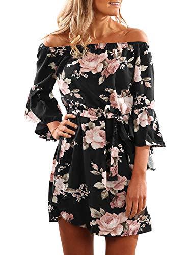 YOINS Damen Sommerkleider Lange Ärmel Schulterfrei Eelegant Sexy Blumenmuster Kurzes Strandkleid schwarz M/EU40-42,M/EU40-42,Schwarz