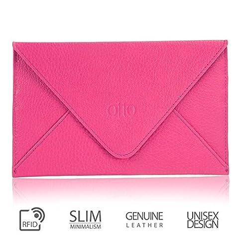 OTTO en cuir véritable embrayage et porte-carte de crédit - enveloppe-Style Portefeuille de voyage avec magnétique fermoir - plusieurs emplacements pour argent, ID, Smartphone (Rose)