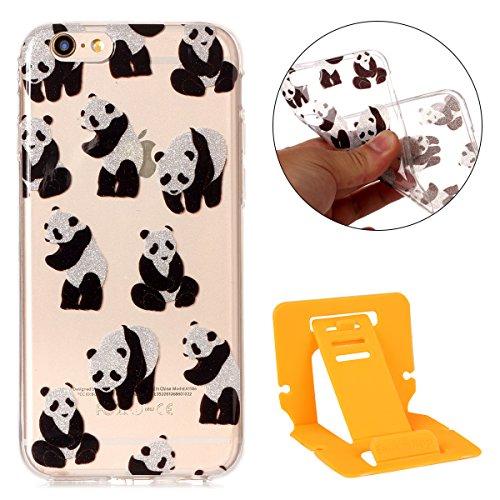 Ekakashop iPhone 6 Plus Hartplastik Hülle, Bemalt Pfingstrose Blume, Tiere, Paris Turm, Bear und Dreamcatcher Serie Muster Plastik Hardcase Tasche Schutzhülle Case für Apple iPhone 6 Plus/6s Plus 5.5  Panda