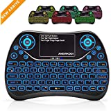 ANEWKODI T16 Mini Teclado Retroiluminado Teclado Inalámbrico con Touchpad Mini Keyboard de Juegos Controlador 2.4GHz Teclado Ergonómico con Ratón para Smart TV, PC, Android TV Box, HTPC, IPTV, XBOX