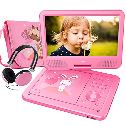 FUNAVO 10.5'' Tragbarer DVD-Player, Schwenkbaren Bildschirm, 5 Stunden Akku, Unterstützt SD-Karte und USB, mit Kopfhörer, Tragetasche, Auto-Ladegerät (Rosa)