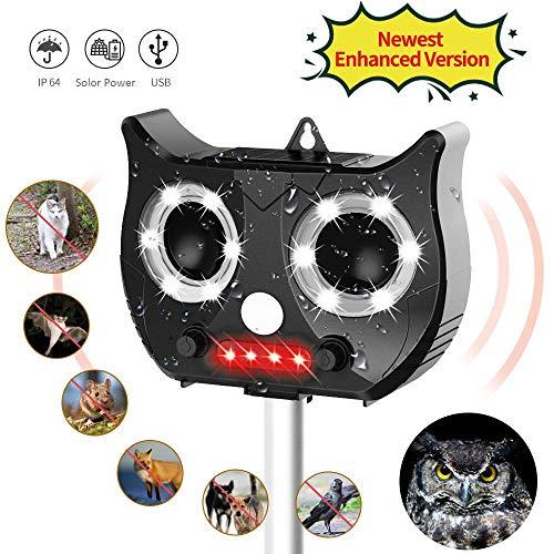 Yikaich Ahuyentador Gatos Repelente ultrasonico para Animales, con LED, Carga Solar, ristente al Agua, Uso en Exteriores, Tierra de Jardinería y de Animales/Ratones, Perroas, Gatos, pájaros, Zorros