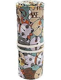 Y-BOA Trousse Crayon Stylo Toile Roulé Porte- Crayons Sac Bag Pochette Monnaie Motif Chat Mignon Scolaire 24 trous