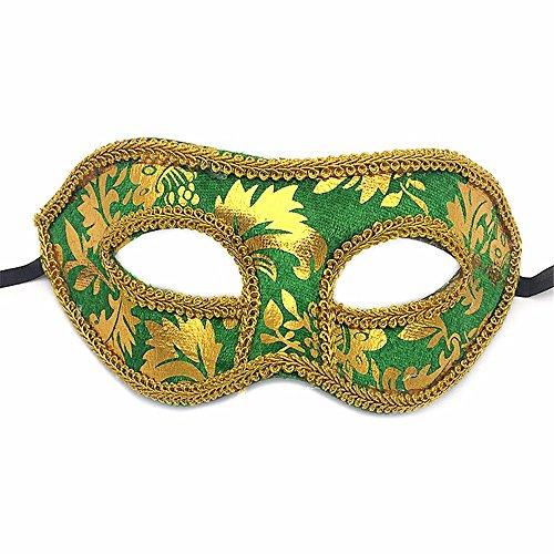 Gesichtsschutz Domino falsche Front Bedrucktes Plastik Maske Party Halbes Gesicht Halloween Make-up Tanz Maske grün ()
