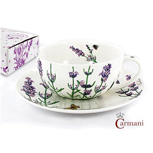 CARMANI - Tasse de porcelaine et une soucoupe décorées avec le theme de la lavande