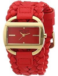 Mike Ellis New York L2757AGU/4 - Reloj analógico de cuarzo para mujer, correa de cuero color rojo