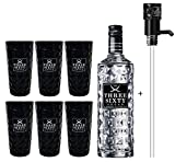 Three Sixty Vodka 3L (37,5% Vol) + Pumpe + 6x Black Longdrink Gläser schwarz -[Enthält Sulfite]