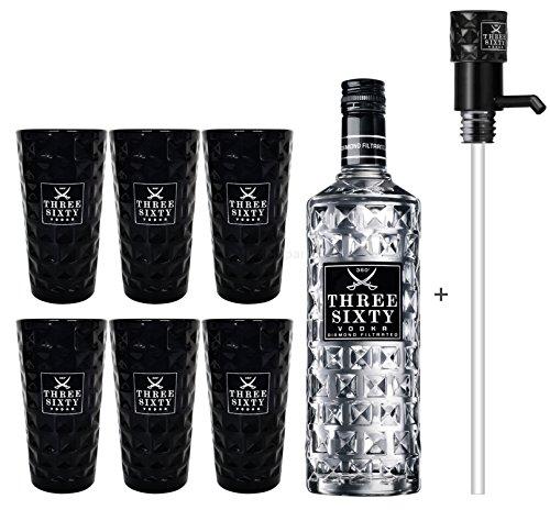 Three Sixty Vodka 3L (37,5{09578c525db40302b5e964e1323bb89d90a25c1b666b45ab58dead3bbd603d3f} Vol) + Pumpe + 6x Black Longdrink Gläser schwarz -[Enthält Sulfite]