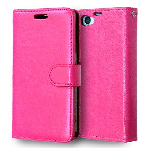 CaseFirst Sony Xperia Z1 Compact / Z1 Mini Custodia, Antiurto Custodia in Pelle Flip Caso Card Slot Case Portafoglio Antiscivolo Protezione Cover in Pelle per Sony Xperia Z1 Compact / Z1 Mini (Rosa)