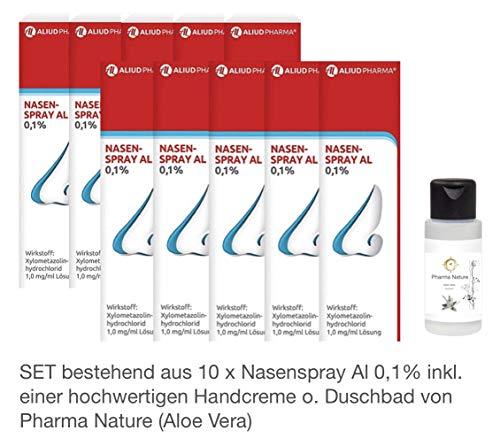 Nasenspray Al 0,1{347ef6397e0c627f93e0d1c1bf6fdf10dae1f7fbbc016f7310dbcaccc266a1e4} - 10er Sparpackung - inkl. hochwertige Handcreme o. Duschbad Von Pharma Nature