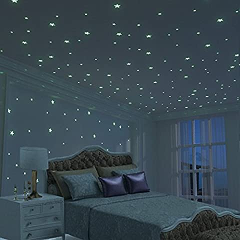 Glow Star Kid Bedroom 3D Wall Sticker - 326pcs XL Set,Biggest Star (10.5cm) - DIY Room Decoration for Boy Girl - Baby House Indoor Wall Art - Toddler Toy Decor