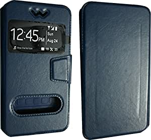 BKDT Marketing Leather finish Flip Cover Case Stand Diary Style for Lenovo A6000 with Dislay Window and Stand - Blue