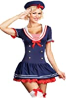 Forever Young Ladies Hello Miss Sailor Sea Fancy Dress Costume Outfit + FREE STOCKING