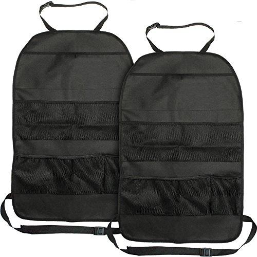 igadgitz U6849 Universal Rückenlehnenschutz Auto Taschen Organizer Auto Rücksitz für Kinder, Säuglinge, Babys - Schwarz, 2Stk