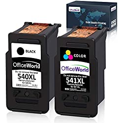 OfficeWorld Cartouches d'encre réusinées PG-540 CL-541, PG-540XL CL-541XL pour Canon Pixma TS5150 MX475 MG3150 MG3650 MG4250 MG3550 MX395 MX525 Noir