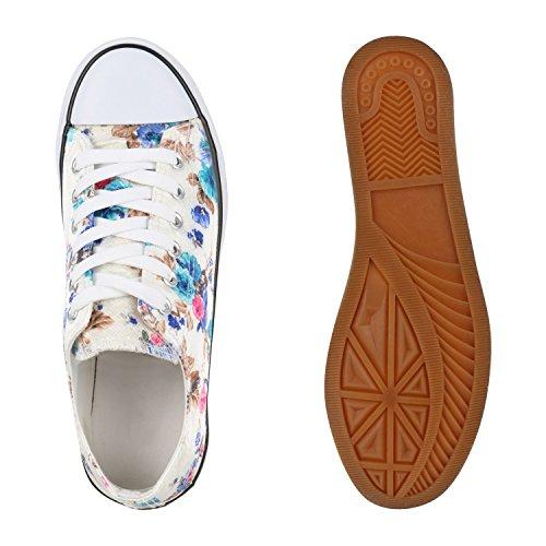 Damen Sneakers Low Blumen Prints Freizeit Schuhe Turnschuhe Creme