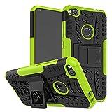 Wigento Hybrid Schutzhülle Outdoor 2 teilig aufstellbar Schwarz/Grün für Huawei P8 Lite 2017 Tasche