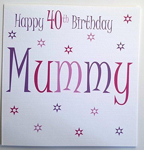 Handmade Cards By Veronica MUMMY Happy 40th Birthday - Pink Stars