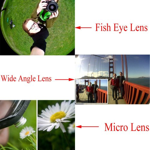 Apexel 4-in-1-Weitwinkel-Makro- und 8 x Teleobjektiv + Rückschale für iPhone 6 Plus Goldfarben