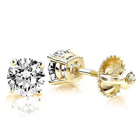 Luxurman 18k Gold Solitaire Round Diamond Stud Earrings (Yellow Gold)