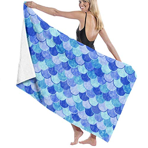 fgregtrg Beach Towels Decor Polyester Fiber Sea Blue Mermaid Fish Scale Bath Towels Oversized Soft, High Absorbent, Eco-Friendly Printed Bath Towel,Quick Dry 31.5\