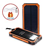 Noza Tec Solar Power Charger 15000mAh Portable Power Bank - Dual USB Output Solar Battery Charger with Carabiner LED Lights for Emergency Cell Phones Tablet Camera (Orange)