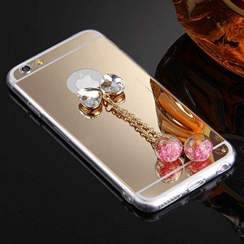 Phone case & Hülle Für iPhone 6 / 6s, Bowknot Kettenanhänger TPU Schutzhülle ( Color : Gold ) Gold