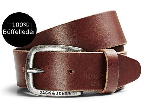Jack & Jones Herren Jeans Gürtel Ledergürtel schwarz braun cognac Gratis Leder Pflege von B46 (Black Coffee, 95) (Gürtel Breite Braune)
