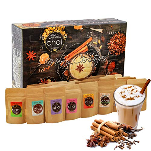 David Rio Chai-Tea Advent Calendar - 24x Delicious Chai Teas from San Francisco for Every Day in Advent - Gift Set for The Christmas Season - Christmas Calendar Advent Season - Chai Latte