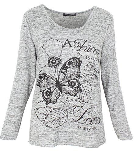 Emma & Giovanni - T-Shirt imprimé Papillons - Femme (L/XL, Gris)