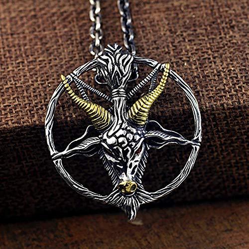 DADATU Halsketten für Herren Satan Goat Head S925 Silber-Pendant Männer Schädel Und Bones Thai Silver Personality Pendant Chain Satanismus Schmuck