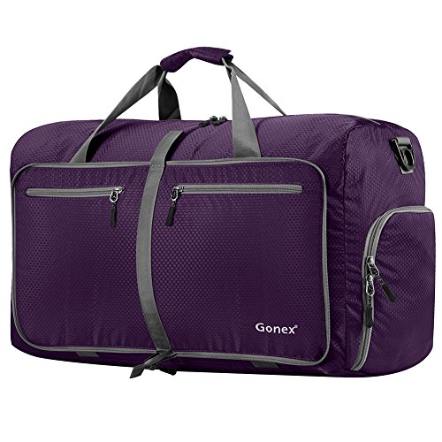 8c60efd35131 Gonex 80L Foldable Sport Duffels Travel Bag Large Sport Holdall Bag  Packable Gym Bag Lightweight Waterproof Luggage (Purple)