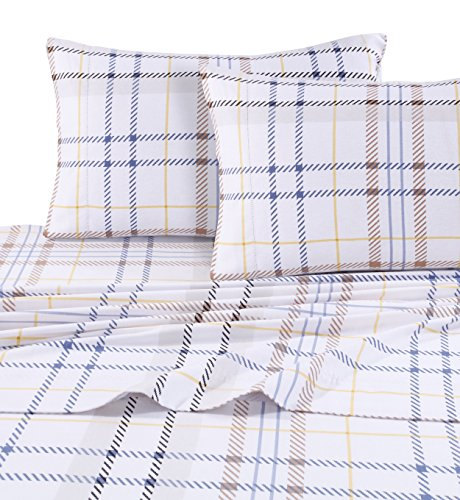 TRIBECA Living Oslo 5 Oz Flanell bedruckt Extra tief Pocket Sheet Set, baumwolle, Modern Plaid, California King Sheet Set
