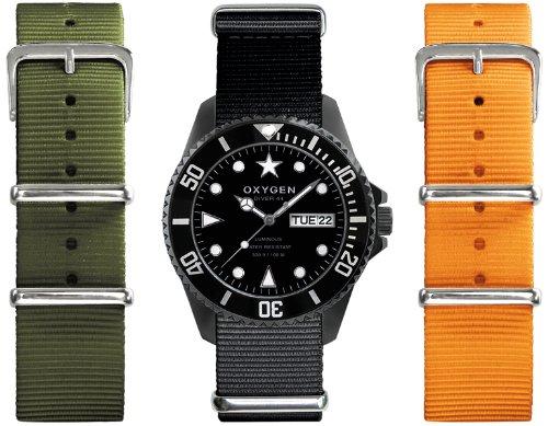 Oxygen EX-D-MBB-44-3S - Reloj analógico de cuarzo unisex, correa de nailon multicolor (agujas luminiscentes)