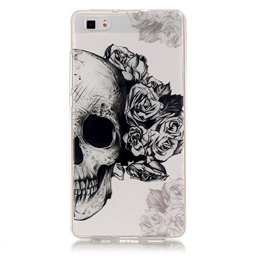 aeeque Custodia morbida in silicone per iPhone 5/5S/SE/6/6S (Plus)/Huawei P9/LG, colorato farfalla fiore disegno trasparente [] posteriore flessibile ultra sottile Bumper [] protezione antiurto Skull with Black Flower