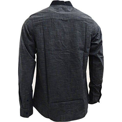 Brave Soul Herren Freizeit-Hemd, Einfarbig Grau - Dunkelgrau
