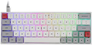 Epomaker Sk64 60 Keys Bluetooth 5 1 Wireless Wired Dual Mode Mechanical Gaming Keyboard With Rgb Backlight And Pbt Heat Sublimation Keycaps Grey White