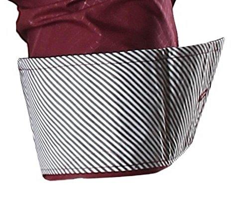 jeansian Herren Freizeit Hemden Shirt Tops Mode Langarmshirts Slim Fit Men Shirt Z024 WineRed
