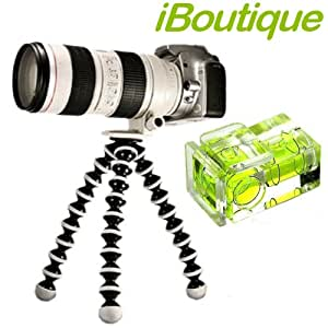 iBoutique Premium Flexipod GP2 SLR Flexible Tripod AND Hot Shoe Spirit Level For ALL Digital Cameras Up To 3KG. Canon EOS, 450D, 500D, 550D, 1000D Etc, Nikon D3000, D5000, D90, Sony Alpha DLSR Range, Fujifilm FinePix and Panasonic G1 & G2 Series