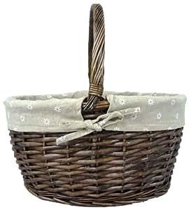 Medium Antique Daisy Traditional Wicker Shopping Basket