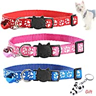 nuosen 3 Pieces Reflective Cat Collars with Bell, Adjustable Cat Collars Safety Quick Release Buckle for All Domestic Cats and Larger Kittens
