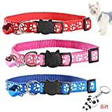 nuoshen 3 Pieces Reflective Cat Collars with Bell, Adjustable Cat Collars Safety Quick Release Buckle for All Domestic Cats and Larger Kittens